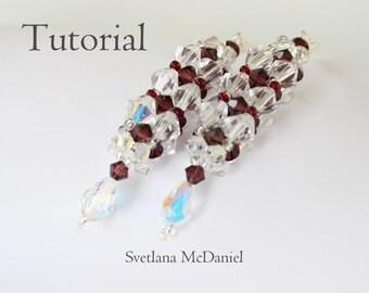 PDF tutorial Swarovski crystal beaded earrings burgundy_easy pattern