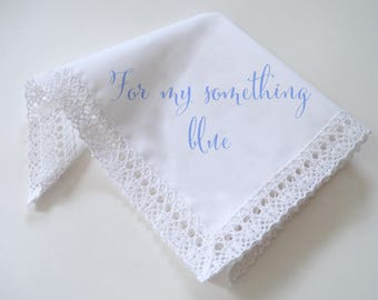 For my something blue bridal handkerchief, something blue for bride, lace handkerchief, wedding hankie, custom color, gift boxed favor