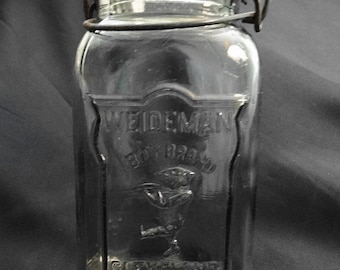 Weideman Boy Brand Wire Quart Square Canning Jar with Glass Lid Cleveland Advertizing