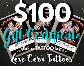 Tatouages de certificat-cadeau tatouage par amour Cora 100 dollars