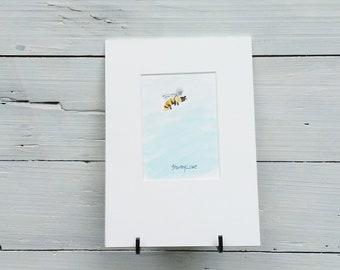 Bumble bee painting, Bee original art, Bumble bee mini art, original 5x7, bee gift, bee collector gift, Pollinator art, gardeners art