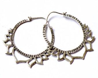 Lotus silver plated earrings/Lotus loops/Boho jewelry/Lotus flower