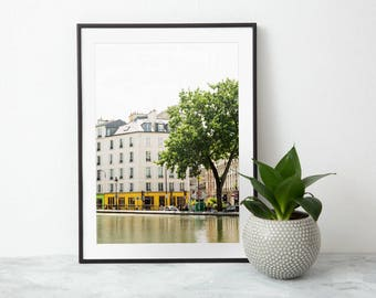 Paris Photography Print - Canal Saint Martin - Parisian Art Print - Travel Photography - Paris Wall Art - Yellow Art Print