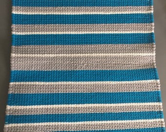 Twined rug- aqua blue, gray, and white