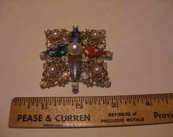 Sarah Coventry Faux Pearl and Rhinestone Brooch(418)