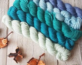 Mini Skein Set, Hand dyed yarn, 5 x 20g skeins, hand dyed yarn, blue yarn, DK, 4ply, sparkle sock, Yorkshiredaleyarn, Calder Water Colourway