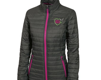 Monogram Heart Stethoscope  Quilted Jacket. Monogrammed Quilted Coat. Charles River Women's  Quilted Jacket. Personalized Coat. CR: 5640