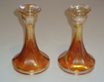 Pair of Vintage Marigold Carnival Glass Art Deco Candle Holders