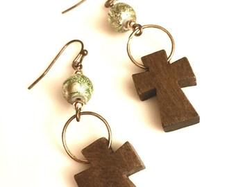 Earrings - Wooden Cross Dangles with Green Foil Style Beads - Bronze - Boho