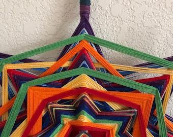 Rainbow Godseye Mandala-Handmade Decor-15 inch, 8 sided Ojo de Dios