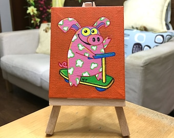 ORIGINAL Art: Piggy and Scooter - Acrylic on mini canvas - FREE Shipping!