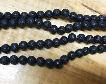 Black Lava Stone Gemstone Round Beads 6mm Approx 32 Beads 8 inch strand
