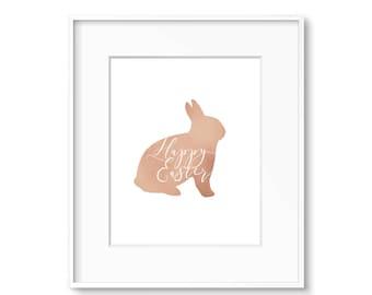 Happy Easter Bunny Print Rose Gold-  DIGITAL DOWNLOAD