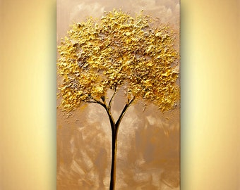 "Gold tree Painting 40"" x 24"" Original Abstract Textured Landscape Painting by Osnat"