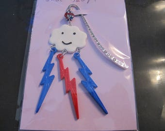 Cloud and light red and blue bookmark
