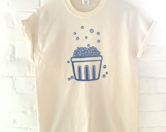 Blueberry T-Shirt, Food Shirt, Screen Printed T Shirt, Foodie Gift