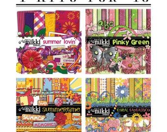 4 kits for ONE price! Digital Scrapbook Kit- Pinky Green, Floral, Summer Lovin, Summertime