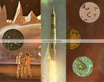 Space themed greeting cards on cardstock