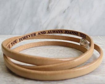 Secret Message Leather Wrap Bracelet  Personalised Engraved Friendship Anniversary Gift Wrapped Silver Magnetic Clasp