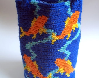 Koi Bag, Koi Purse, Tapestry Crochet Goldfish Purse - Free Shipping Domestic