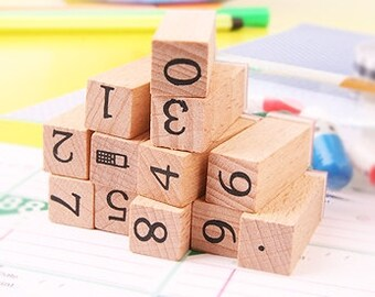 Wooden Rubber Stamps - Rubber Stamp Set - Number Stamp Set  - 12pcs
