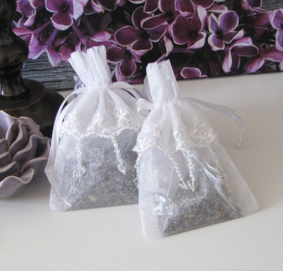 Elegant White Lace French Lavender Sachets