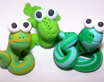 Cake Topper, Cupcake Topper, Snake, Lizard, Green, Free Shipping, Set of 3, Polymer, Clay, Figurine, Children, Amphibians, Home Decor