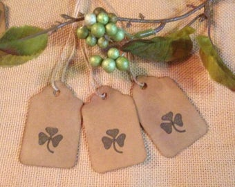 50 Small Primitive Lucky Clover Stamped Hang Tags Coffee Stained Gift Tags Strung St Patricks Day Tags