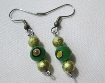 Green and Yellow Glass Beaded Earrings