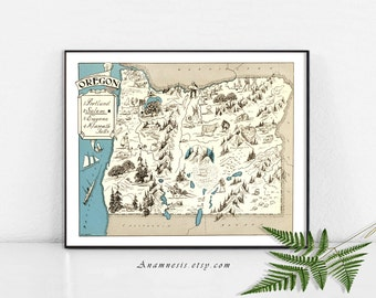 OREGON PICTURE MAP Print - Instant Download Image  - printable map for framing, jewelry, totes, clothes, tags, pillows, nursery, weddings