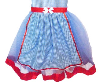Dorothy Costume Tutu Dress: Blue and White gingham apron center, red sparkle, wonderful wizard of oz, birthday party, halloween,  adjustable