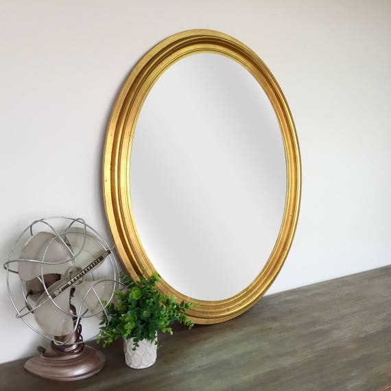 Gold Oval Mirror - Vintage Home Decor - Shabby Chic Mirror - Vintage Wall Mirror - French Country Mirror - Vintage Wall Decor