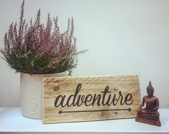 Adventure with Arrow, Rustic Home Decor, Wood Wall Art, Wood signs, Reclaimed wood, Nursery Decor, Kids Bedroom Decor, Hand painted, Gift