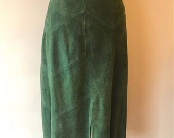 60s-70s Green Suede Skirt