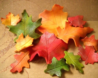 12 Fall Leaves in Gumpaste