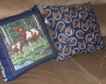 Hand Quilted Pillow with a removable/washable Horse Motif cover
