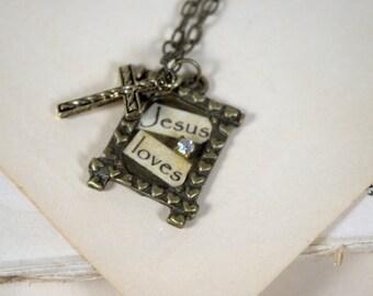 Jesus Loves Necklace * vintage * antique gold * Christian * pendant * collage