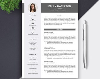 Professional Resume Template. CV Template, Word Resume, MS Word, Modern Creative Simple Resume Design, 5 Page Resume Instant Download, Emily