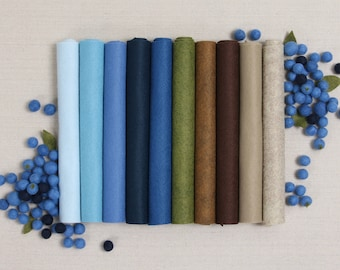 Wool Felt // Blueberry Hill // 10 9x12 12x18 Wool Felt Sheets, Felt Fabric, Fall Crafts, Benzie Design, Gifts for Her, Felt Garland