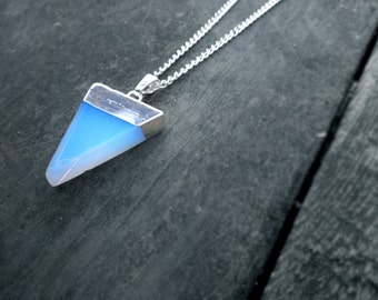 Opal Necklace // Opalite Triangle Necklace // Grunge Necklace // Boho Holographic Jewelry // Pastel Goth Necklace // Bohemian Jewelry