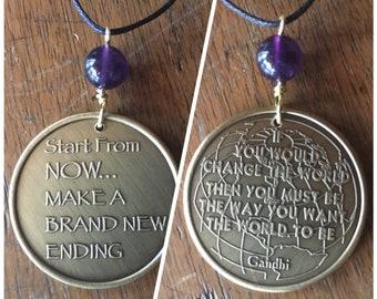 Sobriety/Inspiration Medallion Adjustable Necklace