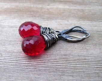 Red Quartz Earrings,  Wire Wrapped in Sterling Silver, Ruby Red Dangle Earrings