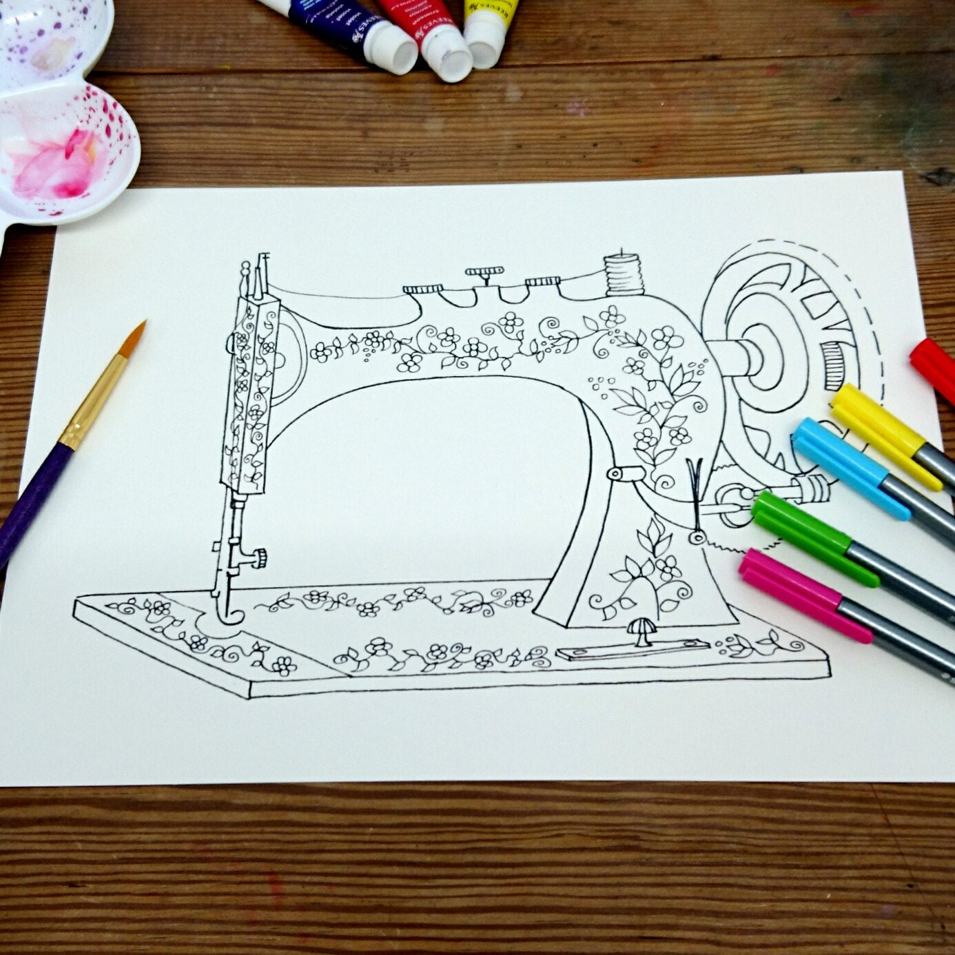 Vintage Sewing Machine Colouring painting sheet for Adults