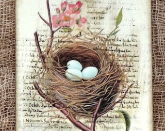 Nest A Place Of Retreat Rest or Lodging Quote Bird Egg Nest Gfit or Scrapbook Tags or Magnet# 294