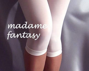 White thin short spandex leggings