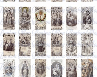Vintage Religious Prayer Card Images - 1x2 inch - Soldered Jewelry Supply - INSTANT DOWNLOAD
