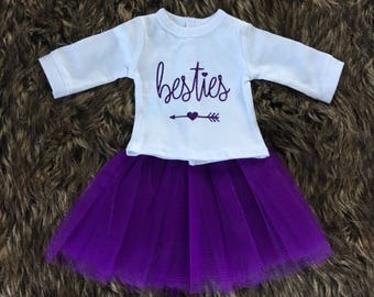 Besties Doll Shirt wtih Doll Tutu