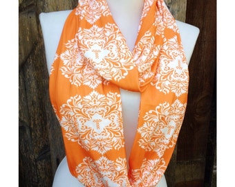 Tennessee Scarf, Tennessee Vols Scarves, orange circle scarf, organic cotton scarf, Women's Scarf, Silky jersey, College team, Cyber Sale