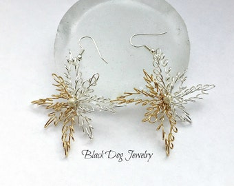 Silver and Gold 8 Pointed Star Wire Wrapoed Spiral Snowflake Dangle Earrings - Starburst Jewelry