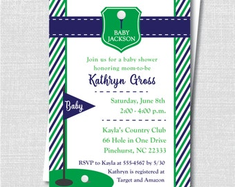 Navy Blue and Green Golf Baby Shower Invitation - Golf Themed Baby Shower - Digital Design or Printed Invitations - FREE SHIPPING